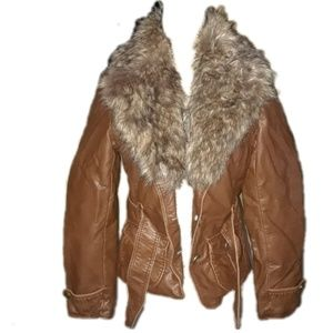 Dress Barn faux leather and removable fur jacket